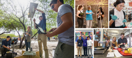 Students and faculty engaging in hands-on experiential learning
