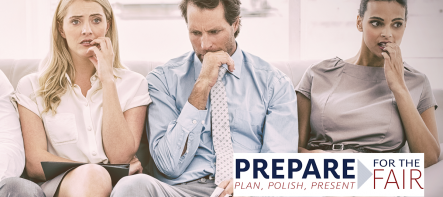 two women and a man sitting nervously on a couch behind the Prepare for the Fair graphic element