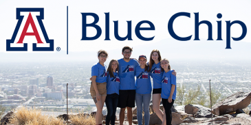 students wearing blue chip t-shirts with the blue chip logo above them