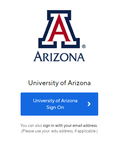 Handshake University of Arizona login screen